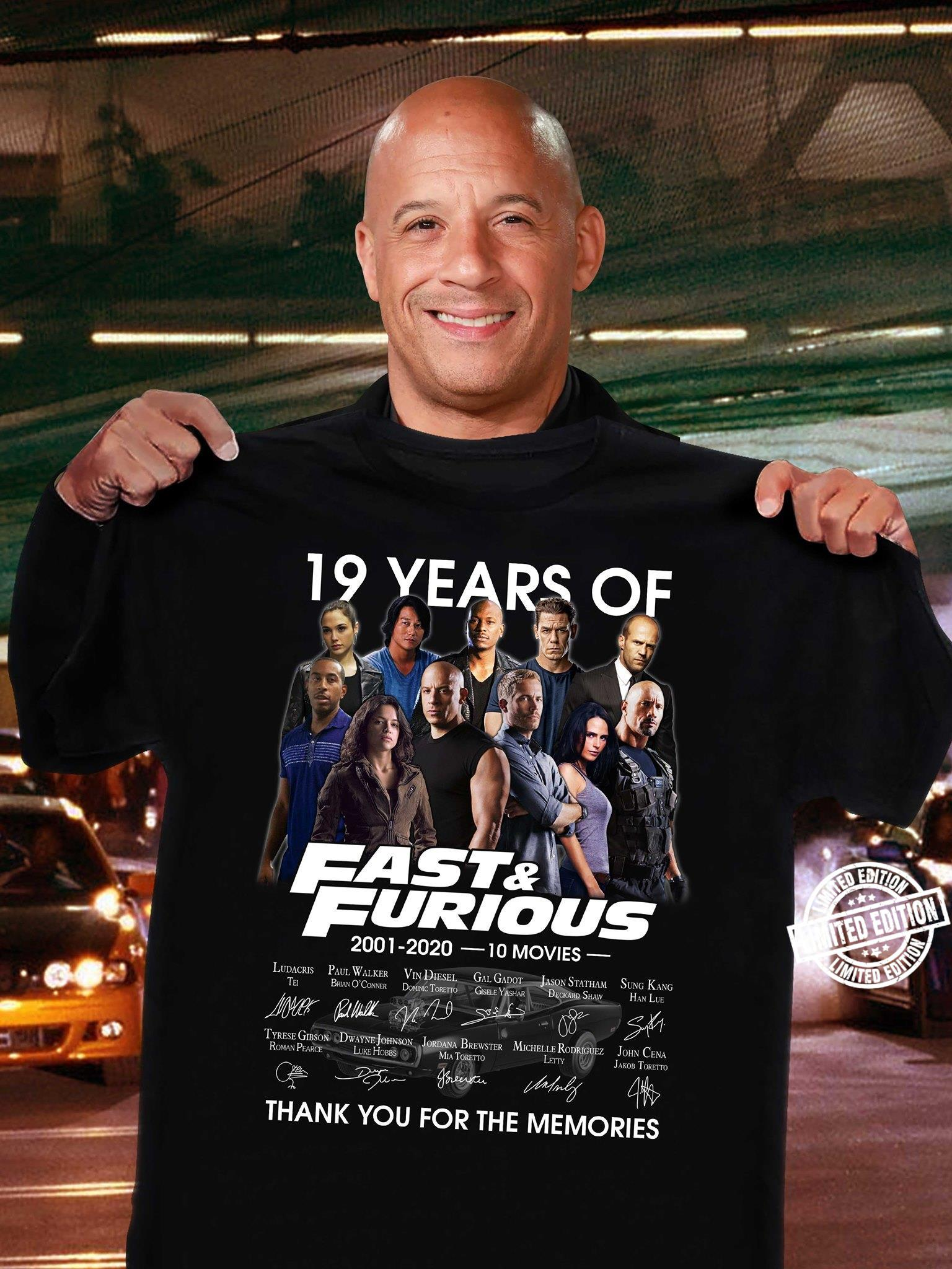 19 years of fast and furious thank you for the memories shirt