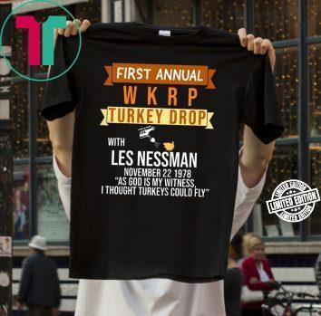 First Annual WKRP Turkey Drop Whit Les Nessman Shirt