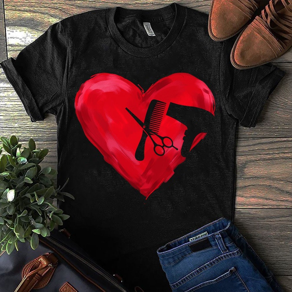 Hair Stylist Heart Red Shirt
