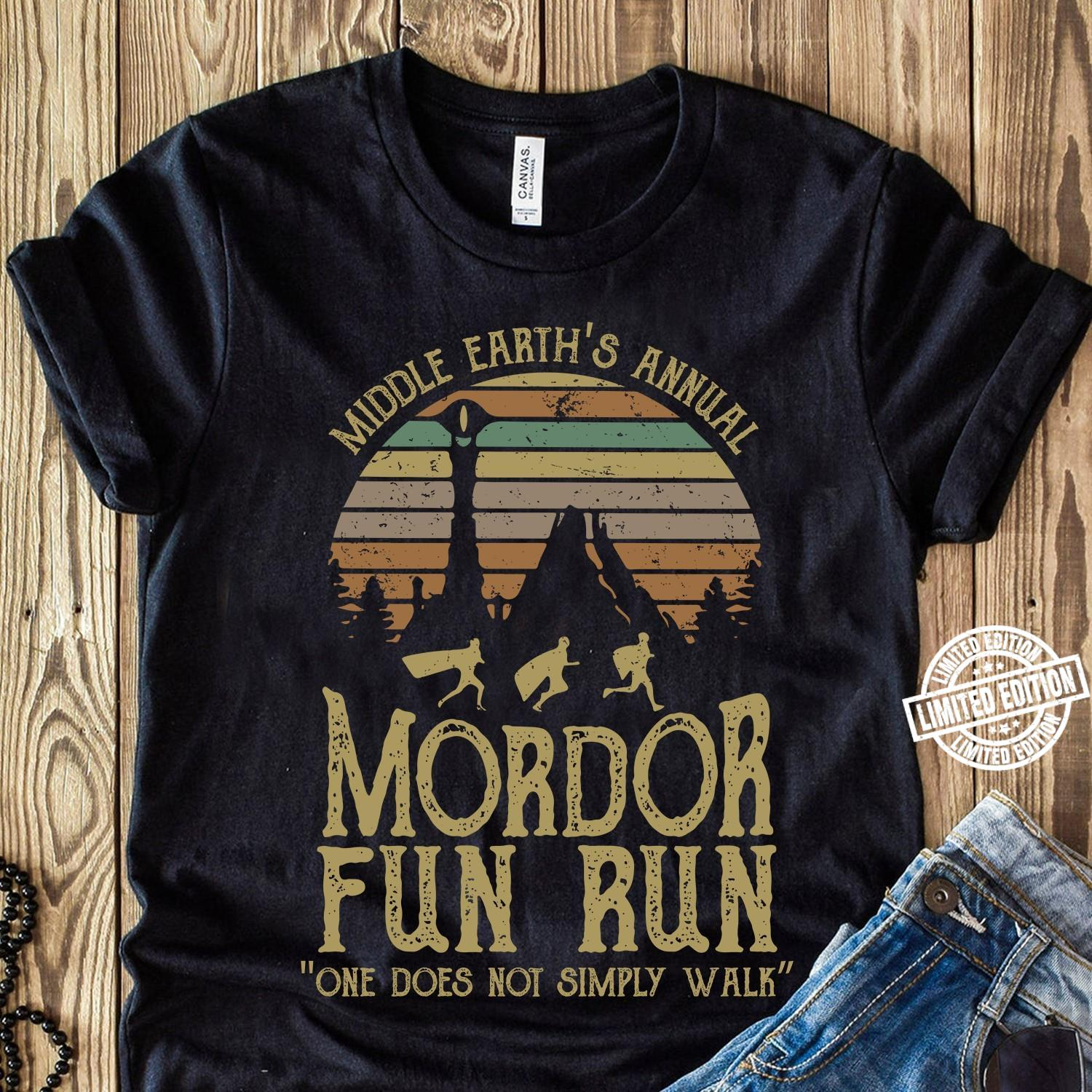 Middle earth's annual mordor fun run one does not simply shirt