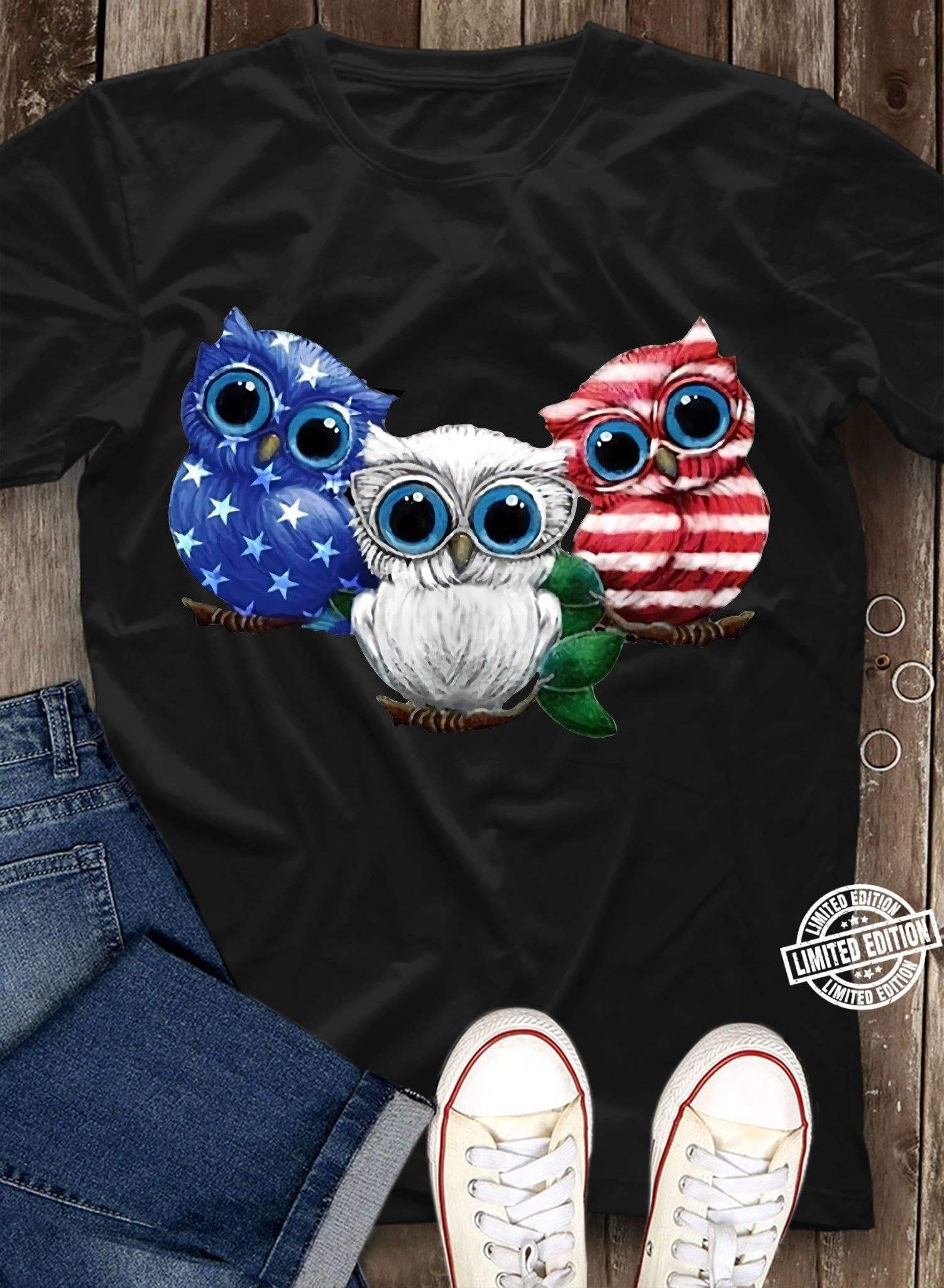 Owls American owl Independence Day Shirt